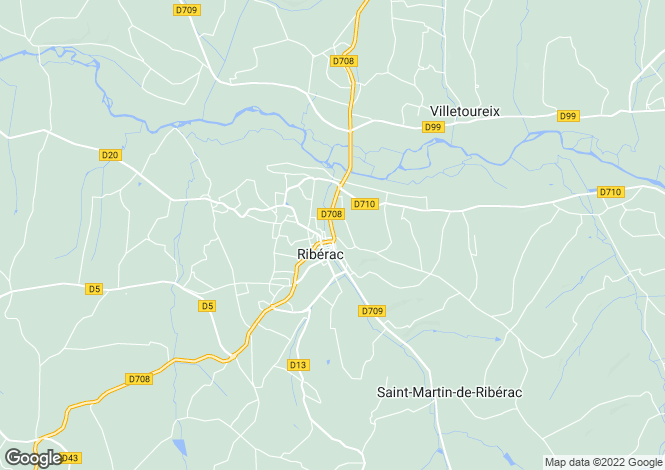Map for riberac, Dordogne, France