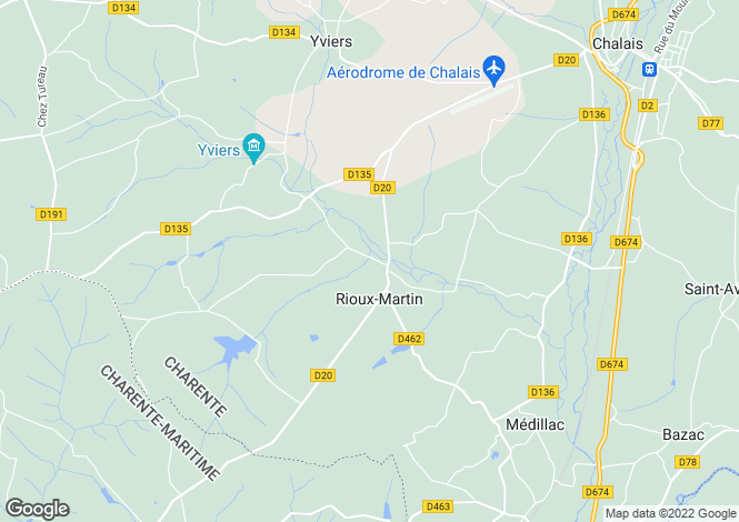 Map for rioux-martin, Charente, France