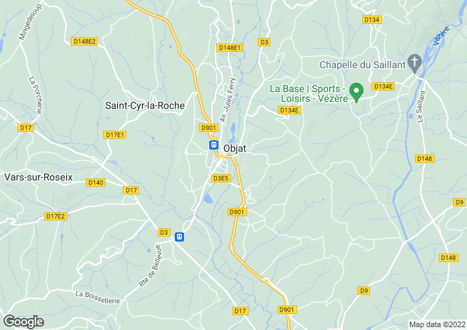 Map for objat, Corrèze, France