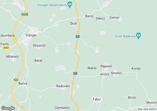 Map for Istria, Baderna