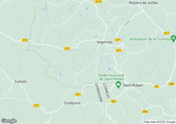 Map for segonzac, Corrèze, France