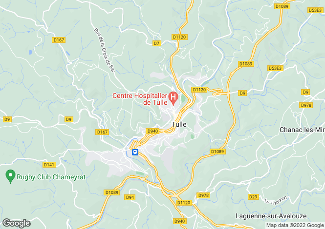 Map for Limousin, Corrèze, Tulle