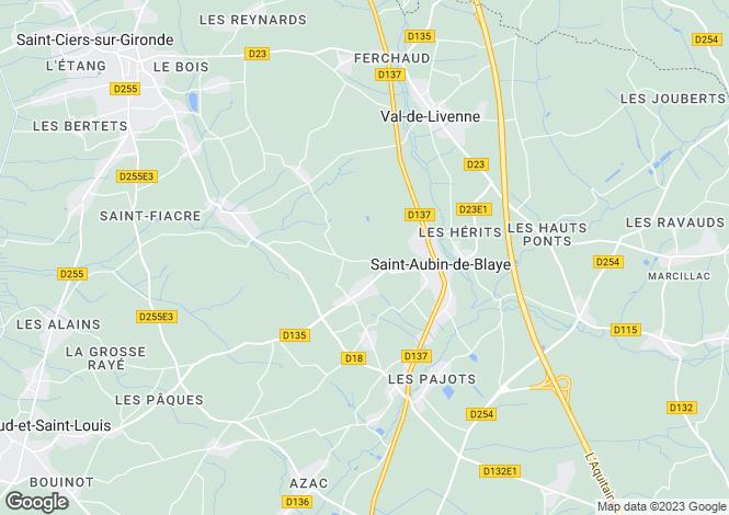 Map for Aquitaine, Gironde, St-Aubin-de-Blaye