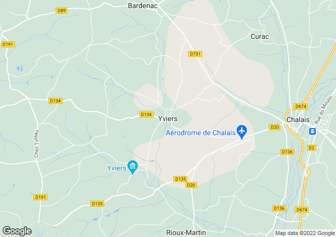Map for Secteur: Yviers, Charente