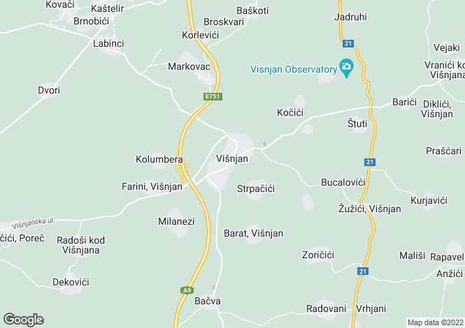 Map for Visnjan, Near Porec, Istria, Croatia