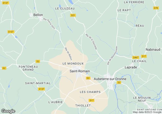 Map for Aubeterre-sur-Dronne, Charente, Poitou-Charentes