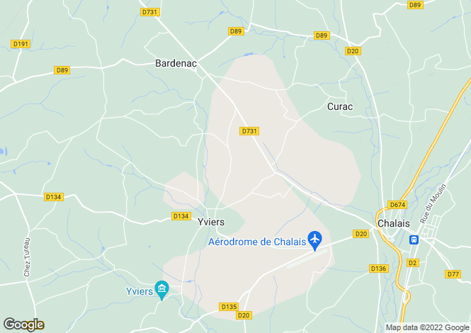 Map for Poitou-Charentes, Charente, Yviers
