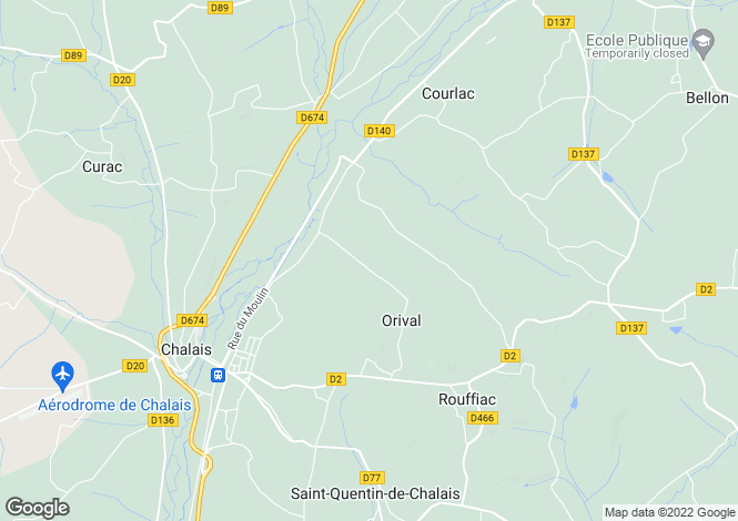 Map for orival, Charente, France
