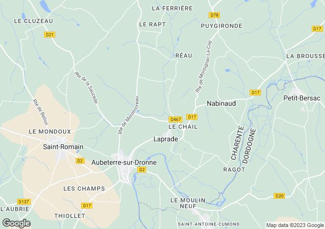 Map for laprade, Charente, France