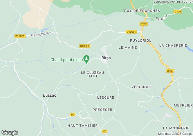 Map for Aquitaine, Dordogne, Biras