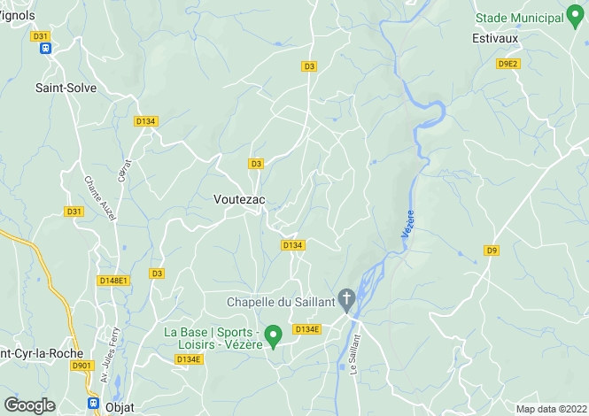 Map for voutezac, Corrèze, France