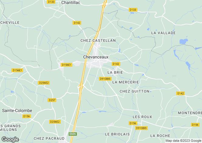 Map for Poitou-Charentes, Charente-Maritime, Chevanceaux