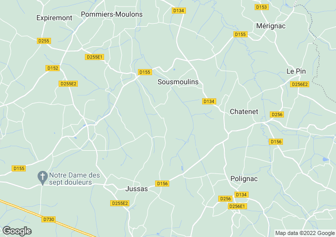 Map for sousmoulins, Charente-Maritime, France