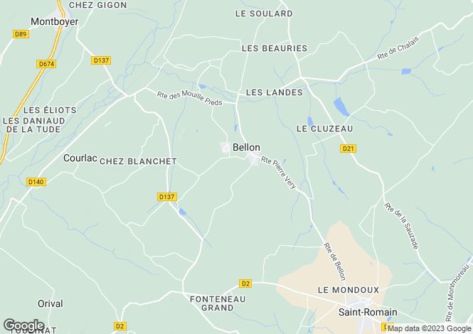 Map for 16210 BELLON, Charente, France
