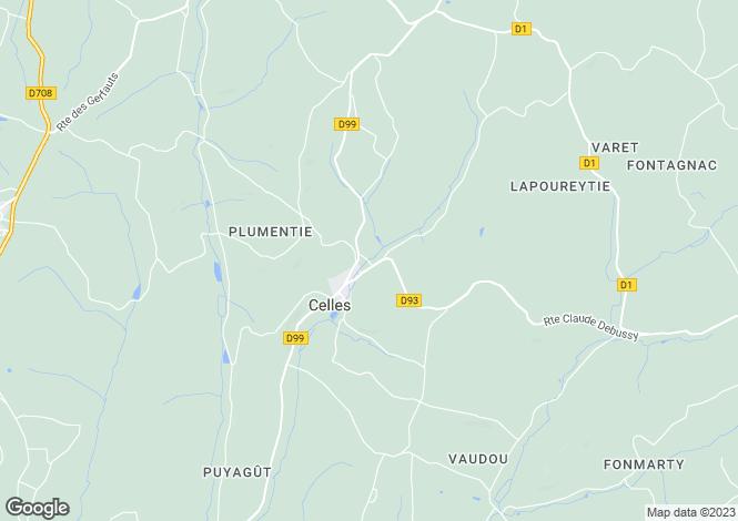 Map for celles, Dordogne, France