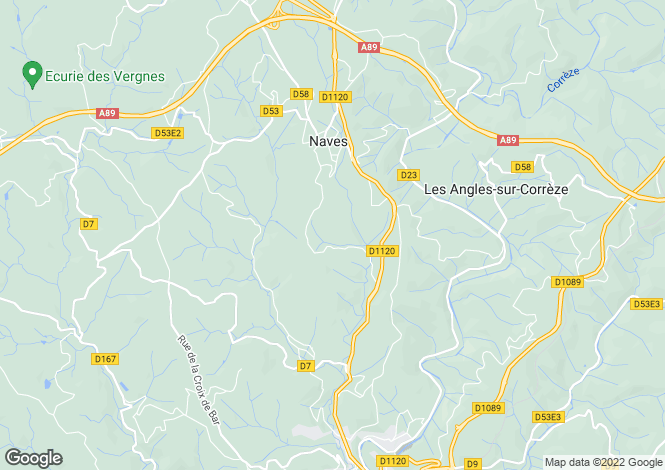 Map for Limousin, Corrèze, Naves
