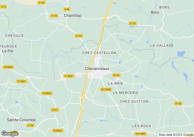 Map for Secteur: Chevanceaux, Charente Maritime