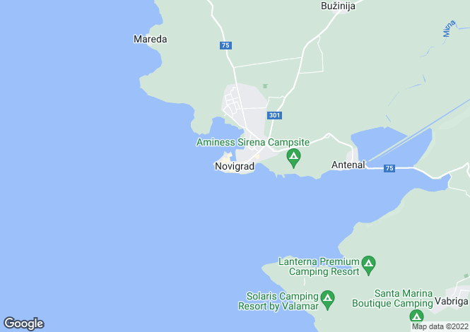 Map for Novigrad, Near Porec, Istria, Croatia