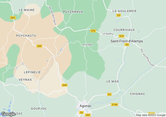 Map for eyvirat, Dordogne, France