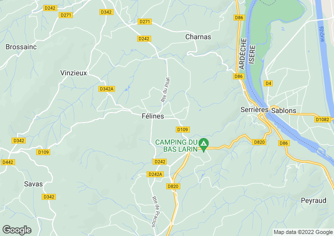 Map for felines, Ardèche, France
