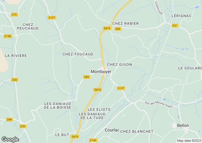 Map for Montmoreau, Charente