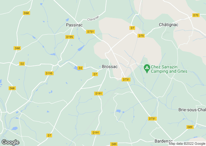 Map for brossac, Charente, France