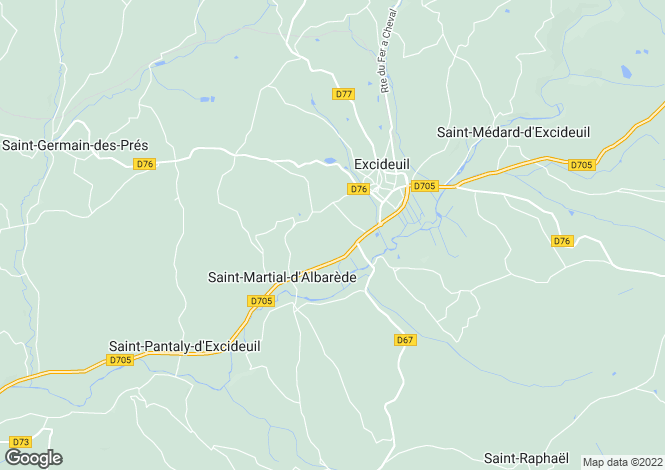 Map for excideuil, Dordogne, France