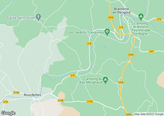Map for bourdeilles, Dordogne, France