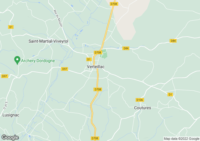 Map for Aquitaine, Dordogne, Verteillac