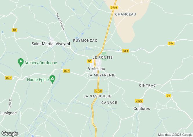 Map for Verteillac, Dordogne.