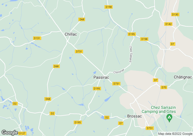 Map for passirac, Charente, France