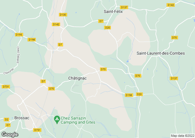 Map for chatignac, Charente, France