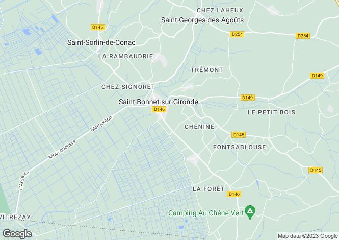 Map for St-Bonnet-sur-Gironde, Charente-Maritime, Poitou-Charentes