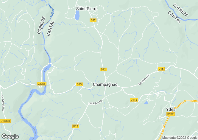 Map for champagnac, Cantal, France