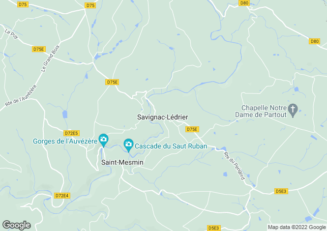 Map for Aquitaine, Dordogne, Savignac-Lédrier