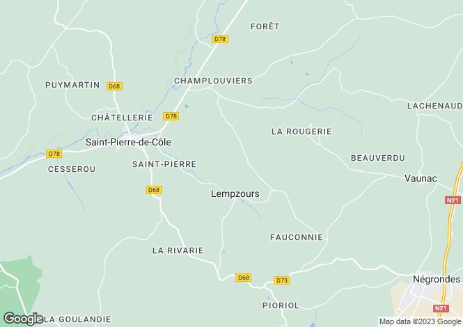 Map for Lempzours, Dordogne, Aquitaine