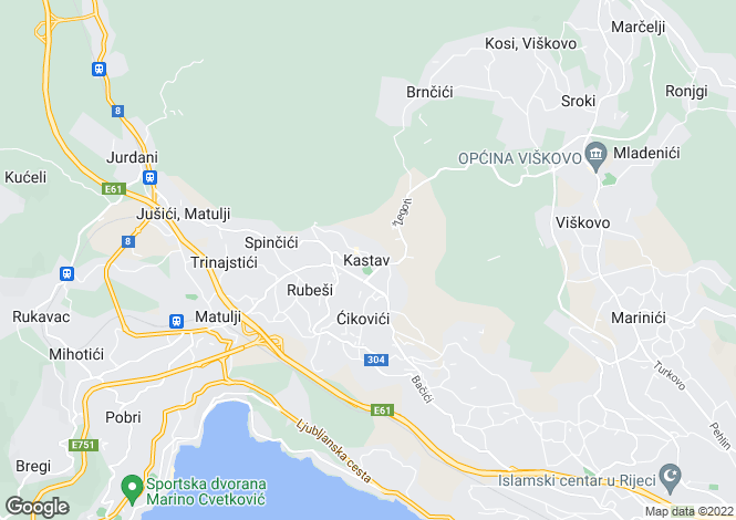 Map for Rijeka, Primorje-Gorski Kotar