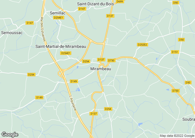 Map for mirambeau, Charente-Maritime, France