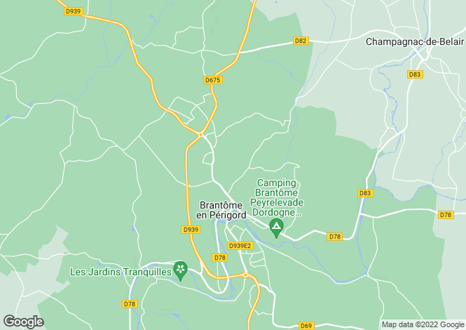 Map for BRANTOME, Dordogne Area, S.W France - Aquitaine,