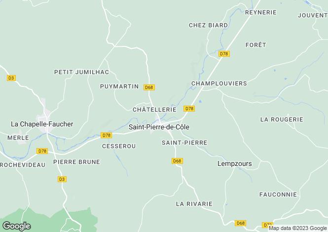 Map for St-Pierre-de-Côle, Dordogne, Aquitaine