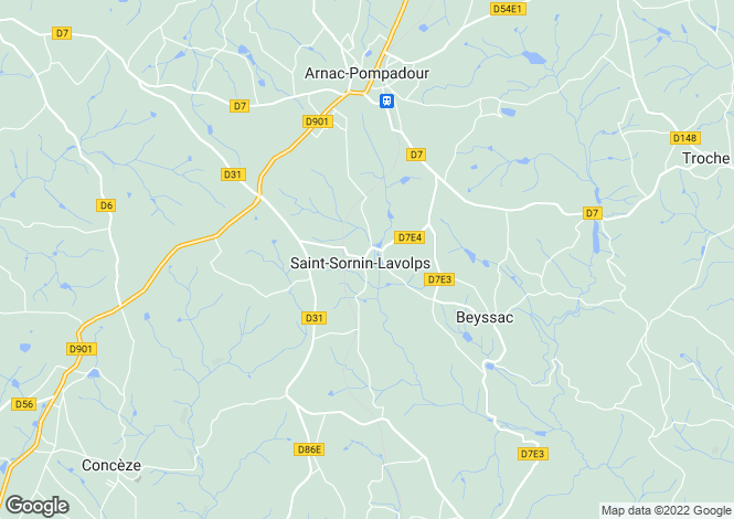 Map for Limousin, Corrèze, St-Sornin-Lavolps