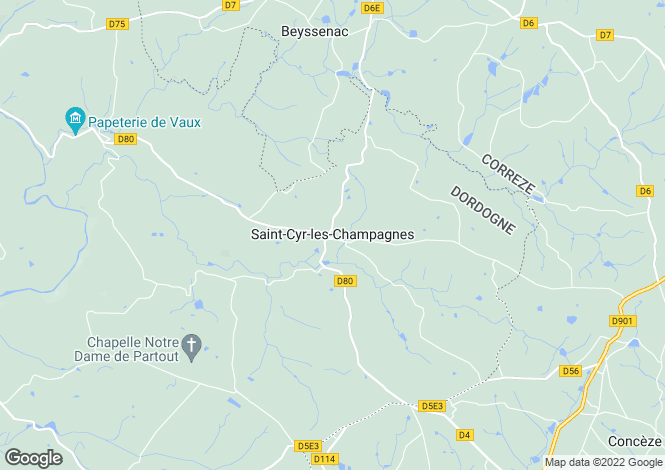 Map for Saint-Cyr-les-Champagnes, Aquitaine, France