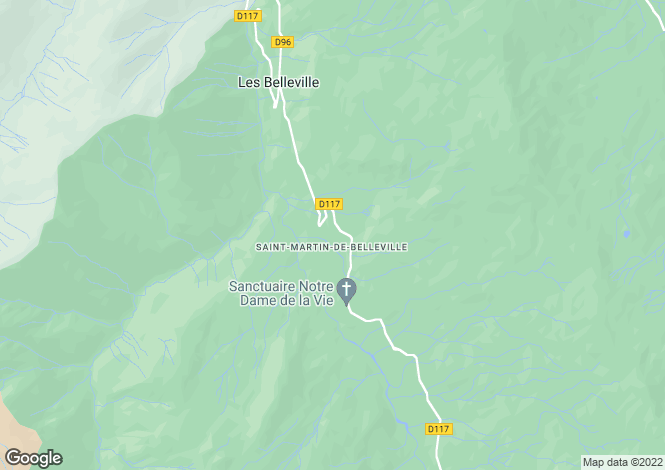 Map for St-Martin-de-Belleville, Savoie, Rhone Alps