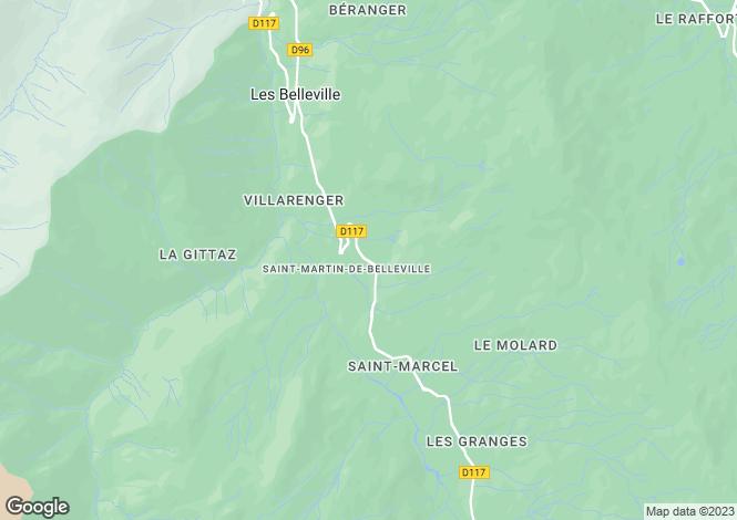 Map for St-Martin-de-Belleville, Savoie, Rhone Alps