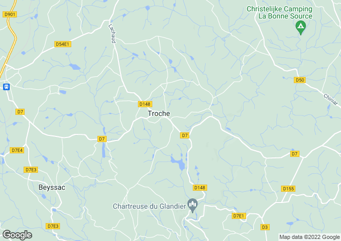 Map for Troche, Limousin, France