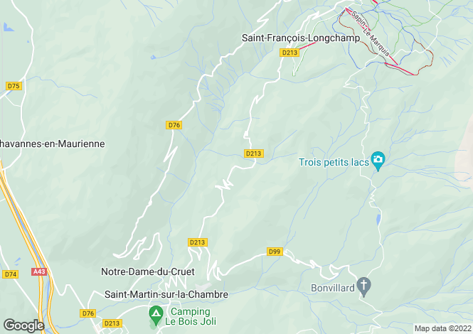 Map for Rhone Alps, Savoie, St-François-Longchamp