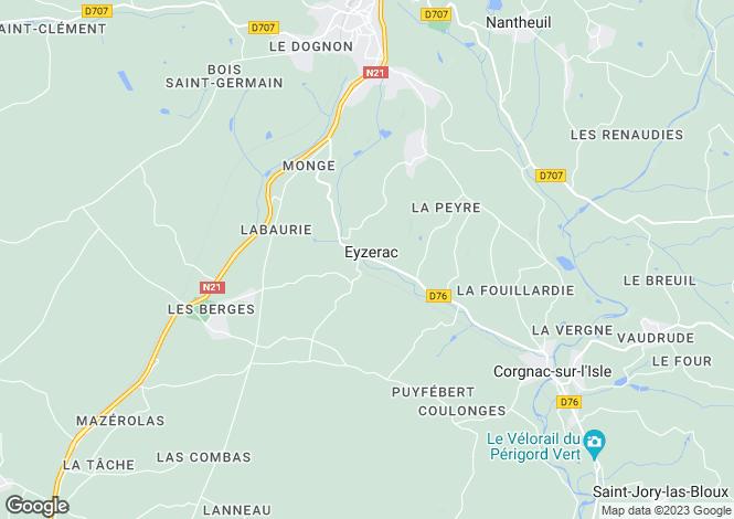 Map for eyzerac, Dordogne, France