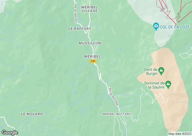 Map for Méribel, La Gittaz, French Alps