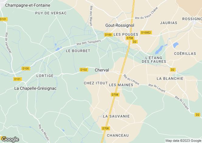 Map for cherval, Dordogne, France