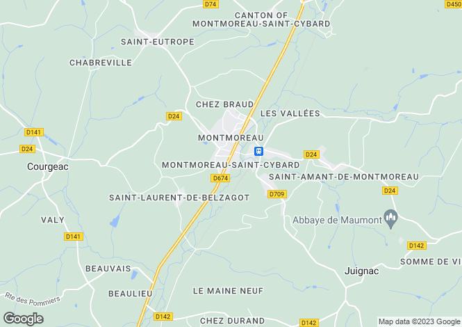 Map for Secteur: Montmoreau, Charente